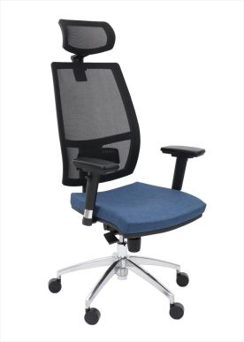 Plava radna fotelja sa mrezastim naslonom i glavonaslonom 4